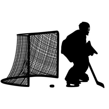 hockey: silhouette of hockey player. Isolated on white. Vector  illustrations. Illustration