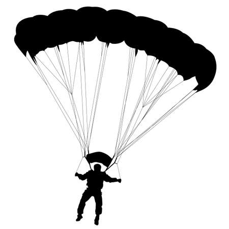 Skydiver, silhouettes parachuting vector illustration Ilustrace