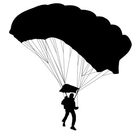 skydiver: Skydiver, silhouettes parachuting vector illustration Illustration