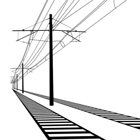 간접비: Railroad overhead lines. Contact wire. Vector illustration.