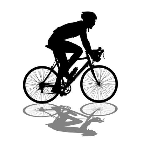 outdoor pursuit: Silhouette of a cyclist male.  vector illustration.