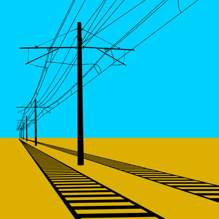 electricity pole: Railroad overhead lines. Contact wire. Vector illustration.