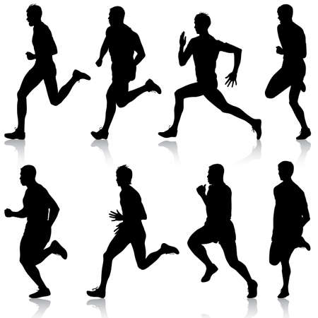 adult man: Set of silhouettes. Runners on sprint, men. vector illustration.
