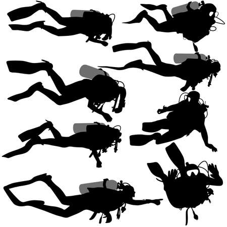 diving: Set black silhouette scuba divers. Vector illustration.