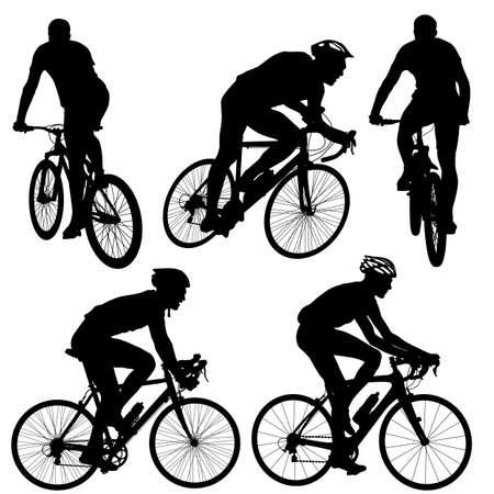 Zestaw sylwetka rowerzysty samca. ilustracji wektorowych.