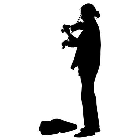 violinist: Silhouette street violinist on white background. Vector illustration.