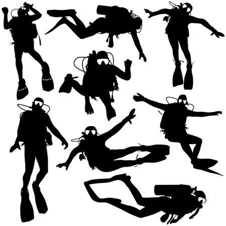 saboteur: Set black silhouette scuba divers. Vector illustration.