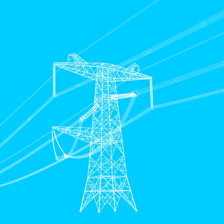 power transformer: Silhouette of high voltage power lines. Vector  illustration.