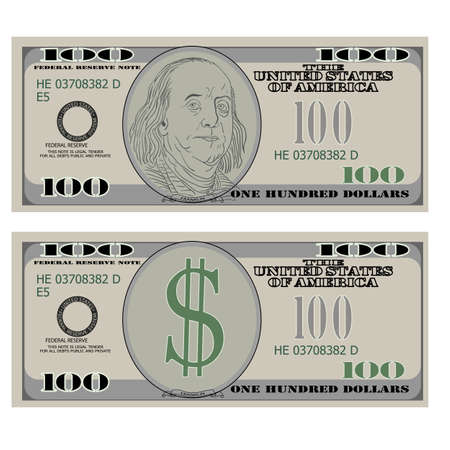 bank notes: Hundred dollar bank notes. Vector illustration. Illustration