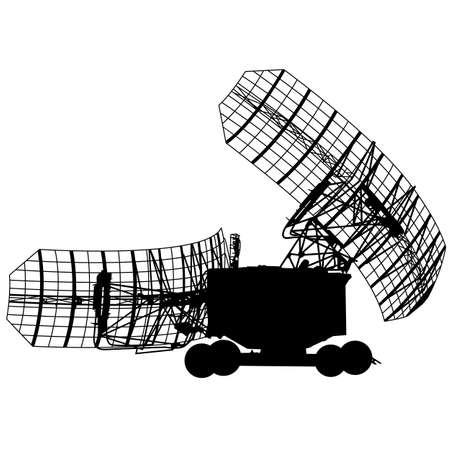radio beams: Silhouette  military radar dish. Vector illustration. Illustration