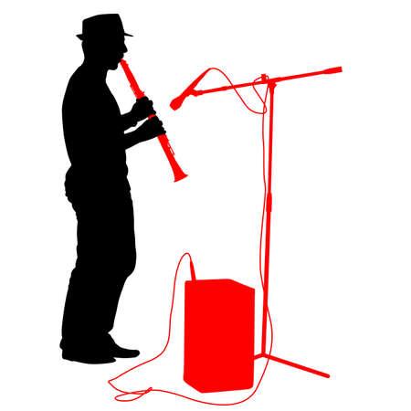 シルエットのミュージシャンは、クラリネットを演奏します。ベクトルの図。  イラスト・ベクター素材