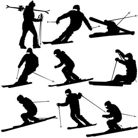 speeding: Set mountain skier   speeding down slope. Vector sport silhouette.