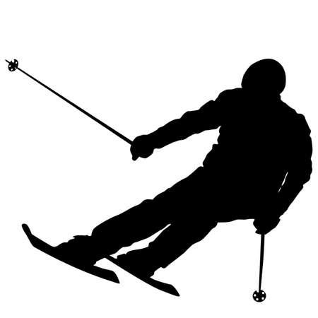 slope: Mountain skier  speeding down slope. Vector sport silhouette. Illustration