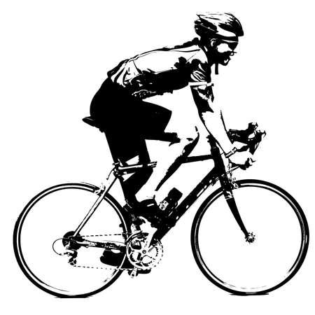 silueta masculina: Silueta de un macho ciclista. ilustración vectorial.