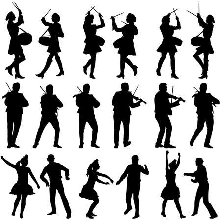 acrobat: Black silhouettes of beautiful mans and womans. Drummer, violinist and acrobat on white background. Vector illustration.