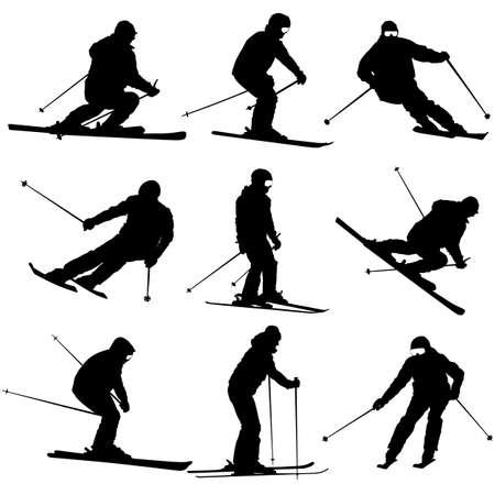the slope: Set mountain skier   speeding down slope. Vector sport silhouette.