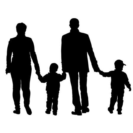 black family: Black silhouettes Family on white background. Vector illustration. Illustration