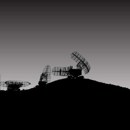通信: シルエット軍事レーダーの皿。ベクトルの図。  イラスト・ベクター素材