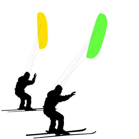 kiting: Men ski kiting on a frozen lake.  Vector illustration.