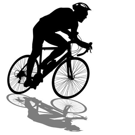 bicycle race: Silhouette of a cyclist male.  vector illustration.