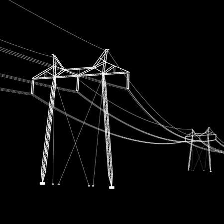powerline: Silhouette of high voltage power lines. Vector  illustration.