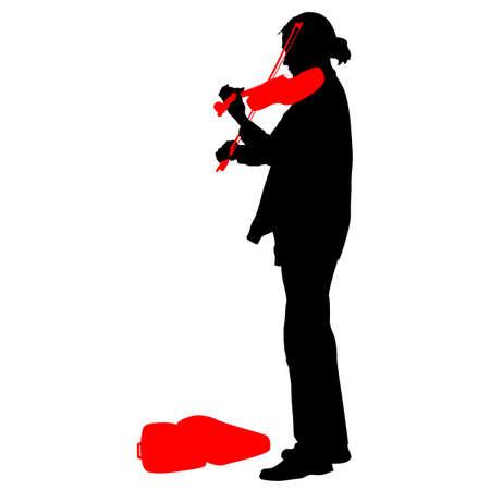 violinist: Silhouette street violinist on white background. Vector illustration.