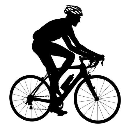cyclist silhouette: Silhouette of a cyclist male.  vector illustration.