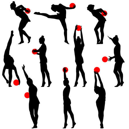 calisthenics: Silhouette girl  gymnast with the ball. Vector illustration.