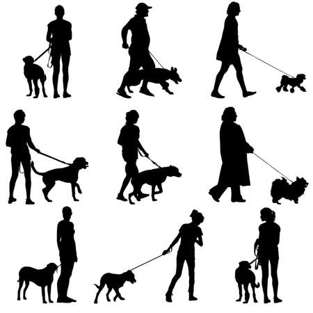 ilhouette: Set ilhouette of people and dog. Vector illustration.