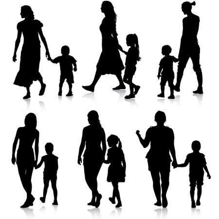 ni�os bailando: Siluetas Negro Familia en el fondo blanco. Ilustraci�n del vector.