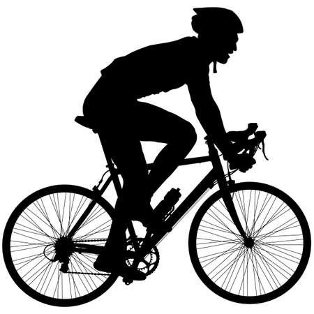 silueta: Silueta de un macho ciclista. ilustración vectorial.
