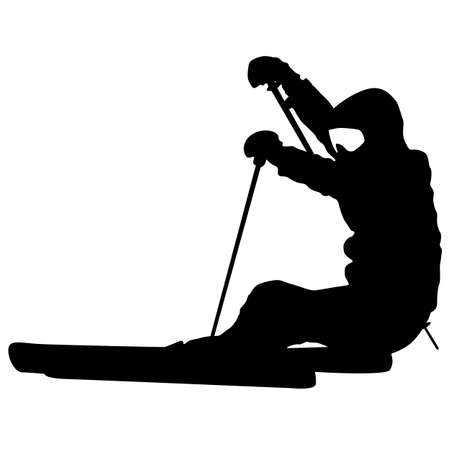 speeding: Mountain skier  speeding down slope. Vector sport silhouette. Illustration