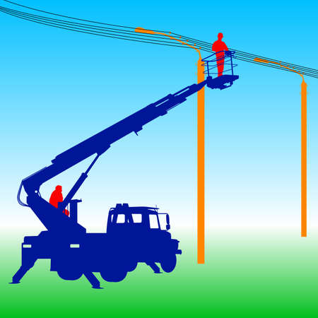 power pole: Electrician, making repairs at a power pole. Vector illustration.