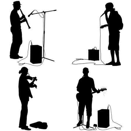 instrumentos de musica: Conjunto de siluetas de los músicos que tocan instrumentos musicales. Ilustración del vector.