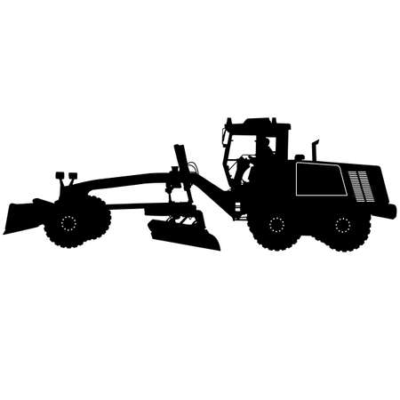 Silhouette of a heavy road grader.