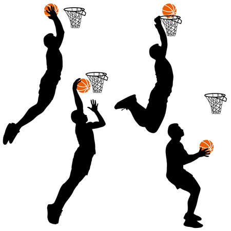 happy families: Black silhouettes of men playing basketball on a white background.