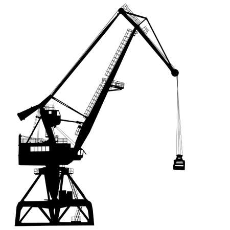port: Working crane in sea port for cargo industry design. Illustration