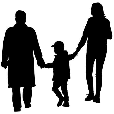 black family: Black silhouettes Family on white background. Illustration