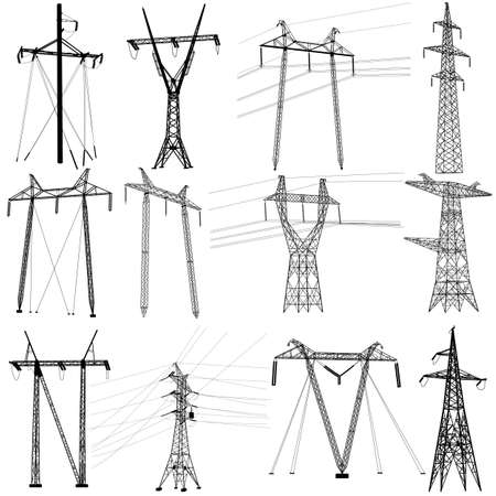 insulators: Set electricity transmission power lines. Illustration