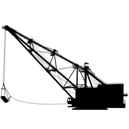 Dragline walking excavator with a ladle. Illustration