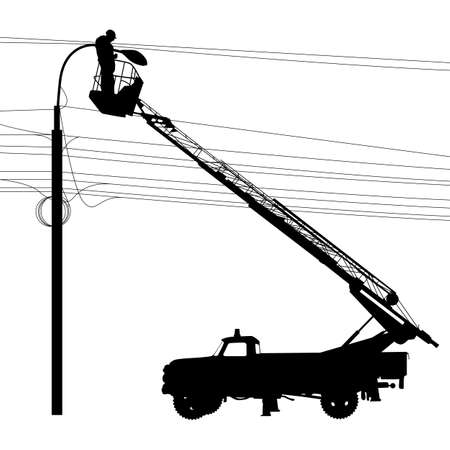 power pole: Electrician, making repairs at a power pole. Illustration