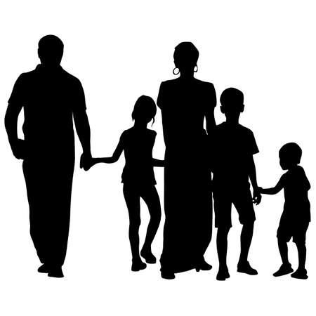 siluetas negro de la familia en el fondo blanco.