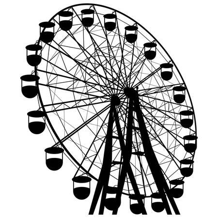 Silhouette atraktsion colorful ferris wheel. Vettoriali