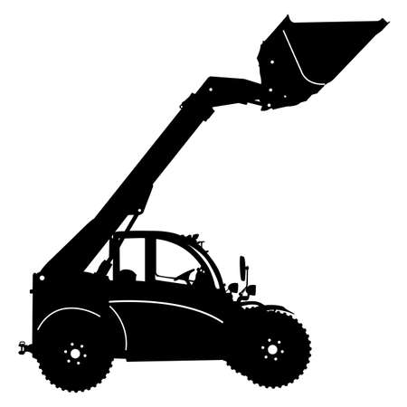 heavy: Silhouette of a heavy loaders with ladle.