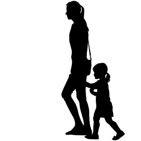 Black silhouettes Family on white background.