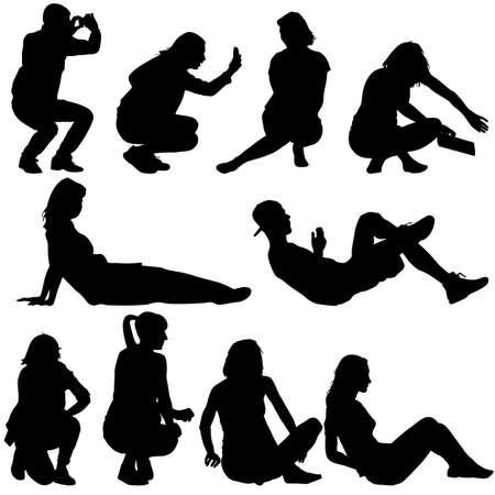 Silhouettes de personnes dans des positions couchée et assise. Vector illustration.