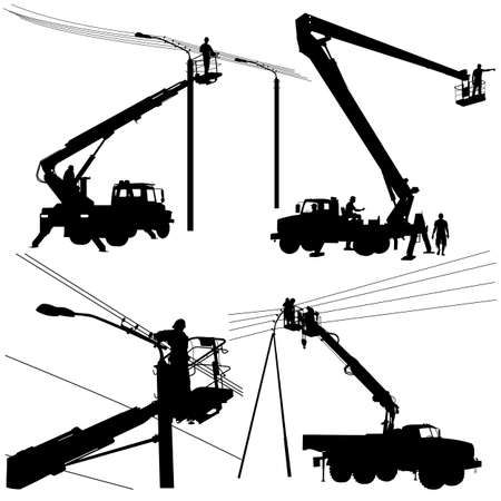 transmission line: Set electrician, making repairs at a power pole. Vector illustration.