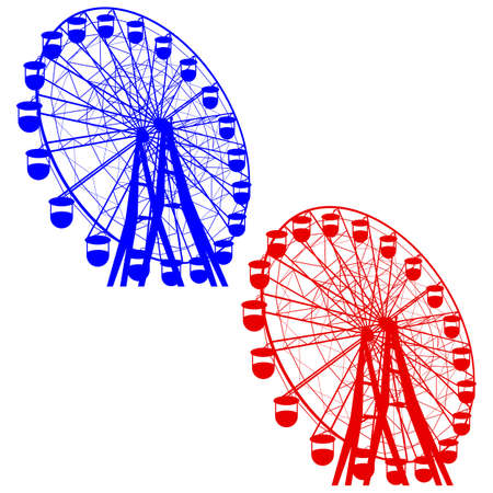 vector wheel: Silhouette atraktsion colorful ferris wheel. Vector illustration. Illustration