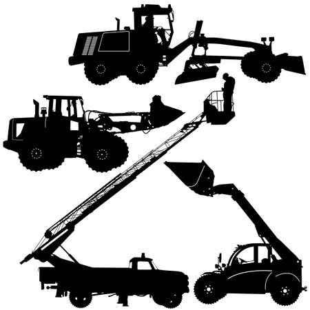 graders: Set of silhouettes of construction machinery. Vector illustration. Stock Photo