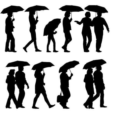 black woman: Black silhouettes man and woman under umbrella. Vector illustrations.